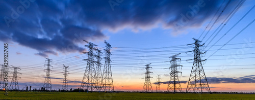 Photographie High voltage electricity tower sky sunset landscape,industrial background