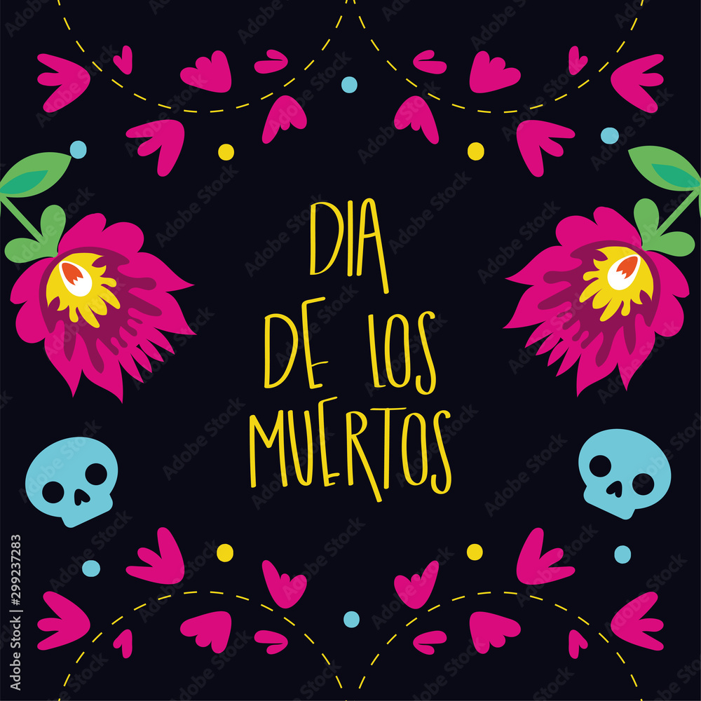 Fototapety, obrazy: dia de los muertos card lettering with flowers garden decoration
