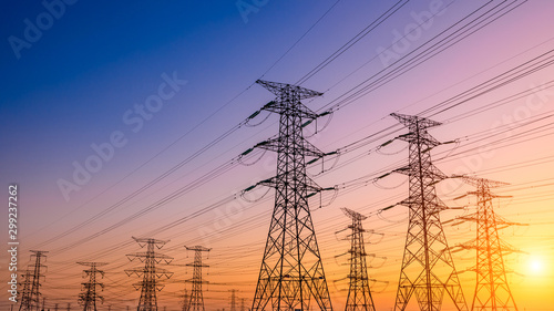 Fotografija High voltage electricity tower sky sunset landscape,industrial background