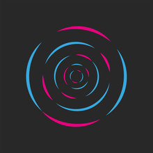 Round Waves Of Sound DJ Logo Acid Neon Colored Radial Ripples Abstract Geometric Shape