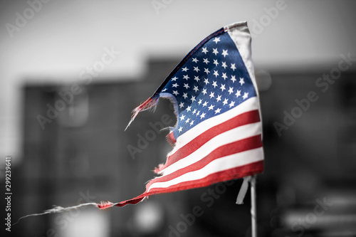 Fotografie, Tablou  tattered american flag on black and white background
