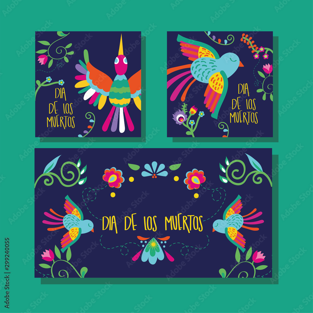 Fototapety, obrazy: dia de los muertos card lettering with birds and flowers