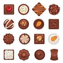 Dessert Or Chocolate Candies Isolated Icons, Coffee Break Snack