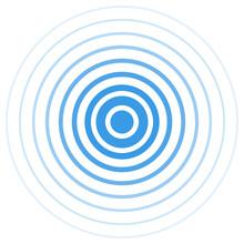 Radar Screen Concentric Circle. Blue Color Ring. Radio Station Signal. Vector Illustration. Signal.
