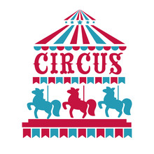 Fun Fair, Circus Or Carnival Isolated Icons, Merry-go-round