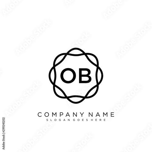 Fotografía  OB Initial logo letter with minimalist concept vector