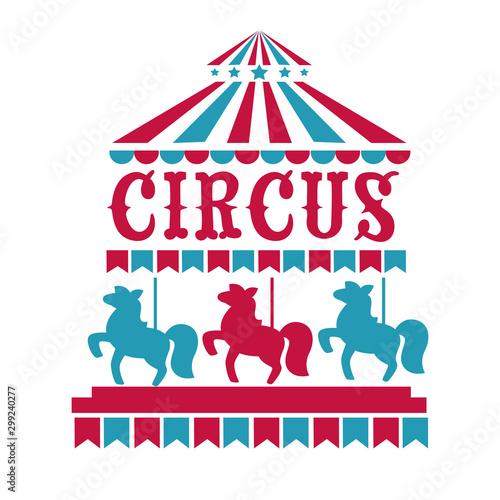 Fun fair, circus or carnival isolated icons, merry-go-round Tapéta, Fotótapéta