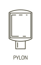 Pylon Isolated Line Icon, Exterior Or Interior Advertising Banner