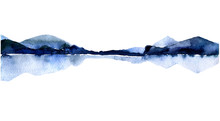 Watercolor Landscape With Isla...