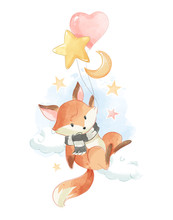 Cute Fox Holding Balloons In The Sky