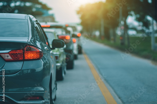 Car Driving on road and Small passenger car seat on the road used for daily trip Fototapet