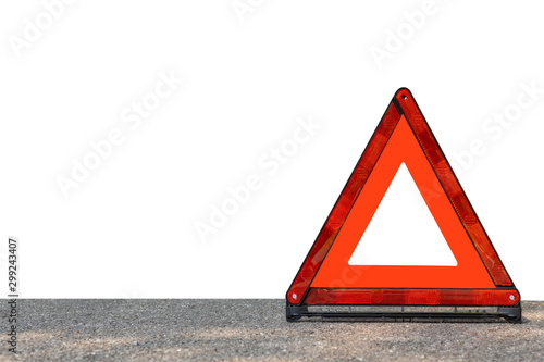 Fotografiet Red triangle, red emergency stop sign, red emergency symbol isolated on white background
