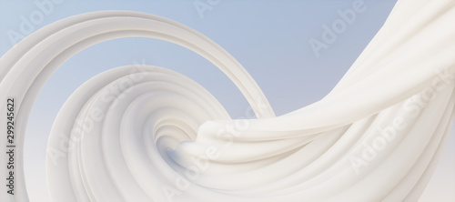 Abstract geometric white curve texture background (High-resolution 3D CG rendering illustration)