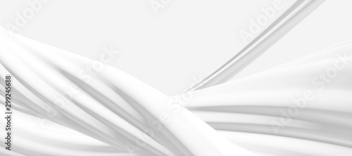 Abstract geometric white curve texture background (High-resolution 3D CG renderi Fototapet