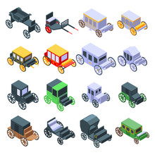 Brougham Icons Set. Isometric Set Of Brougham Vector Icons For Web Design Isolated On White Background
