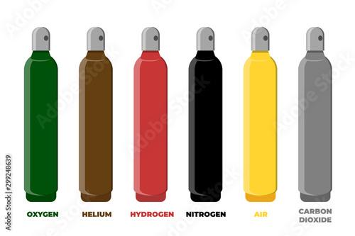 Cuadros en Lienzo  Compressed gas storage cylinder identification color set