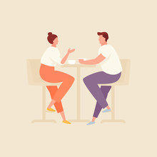 Couple In Cafe Vector Illustration