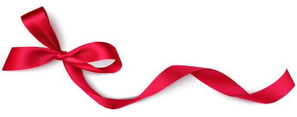 Fototapeta Decorative red bow with long ribbon isolated on white background. Holiday decoration. Vector illustration