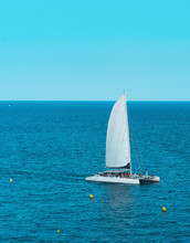 Sailboat In The Sea With Ongoi...