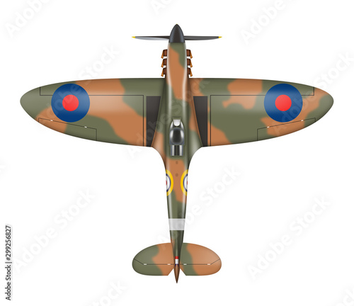 Foto Spitfire airplane top view