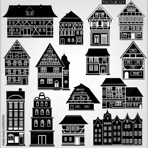 Set of European houses and buildings in a traditional style in black and white on a gray background. Fototapete