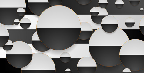 Fototapeta Wzory geometryczne Contrast black and white circles with golden outlines geometric background. Vector hi-tech modern design