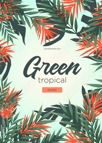 Bright tropical background with jungle plants. Exotic pattern with tropical leaves - 299258877