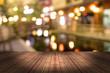 Leinwandbild Motiv top desk with blur restaurant background