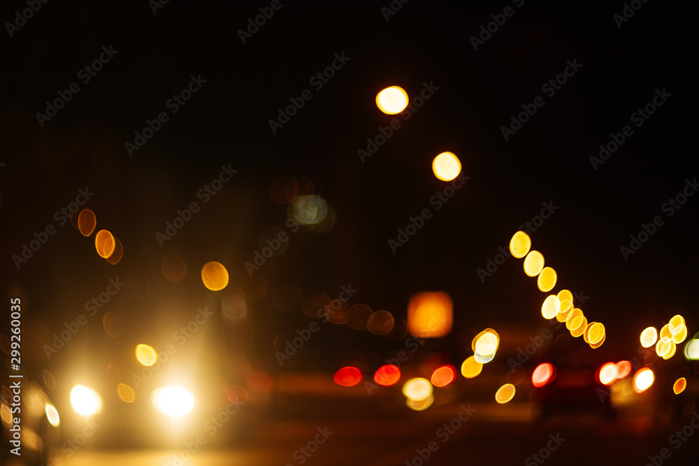 Fototapety, obrazy: blur bokeh of car on the road. blur traffic at night.