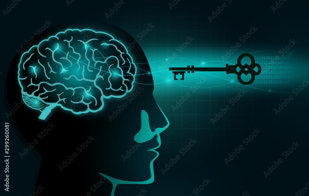 Fototapeta The Secret Key move into human head with brain inside. Illustration about Secret of Mindset and Attitude.
