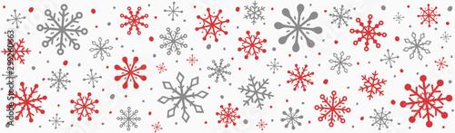 Fototapeta Panoramic header with beautiful snowflakes. Christmas decoration. Vector obraz na płótnie