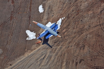 Abandoned crashed plane – aerial view