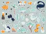 Fototapeta Dinusie - Cute cartoon set of stickers with dinosaurs, plants, volcano