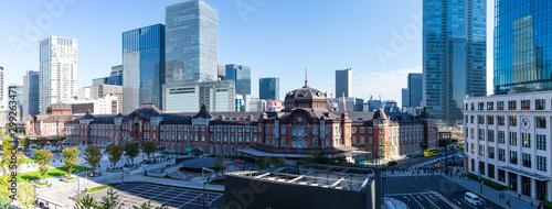 (東京都-風景パノラマ)青空の下の東京駅パノラマ風景1 Wallpaper Mural