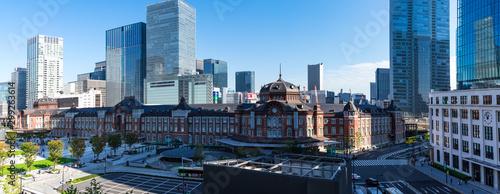 (東京都-風景パノラマ)青空の下の東京駅パノラマ風景2 Canvas Print