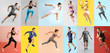 canvas print picture Collage with young sporty people