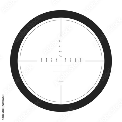 Fotografía Sniper target scope or sight, isolated on white background