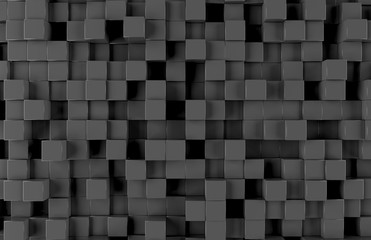 Black square background pattern 3D rendering