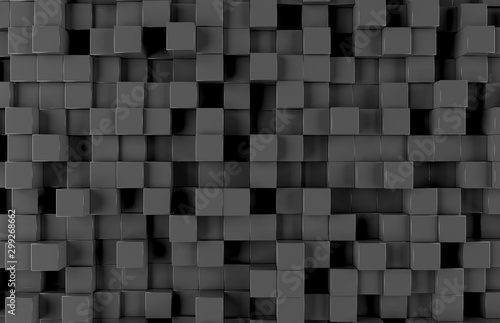 Fotografía  Black square background pattern 3D rendering