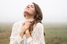 Girl Closed Her Eyes, Praying ...