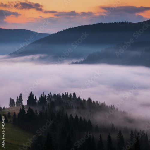 Foto op Aluminium Ochtendstond met mist sunrise in mountains