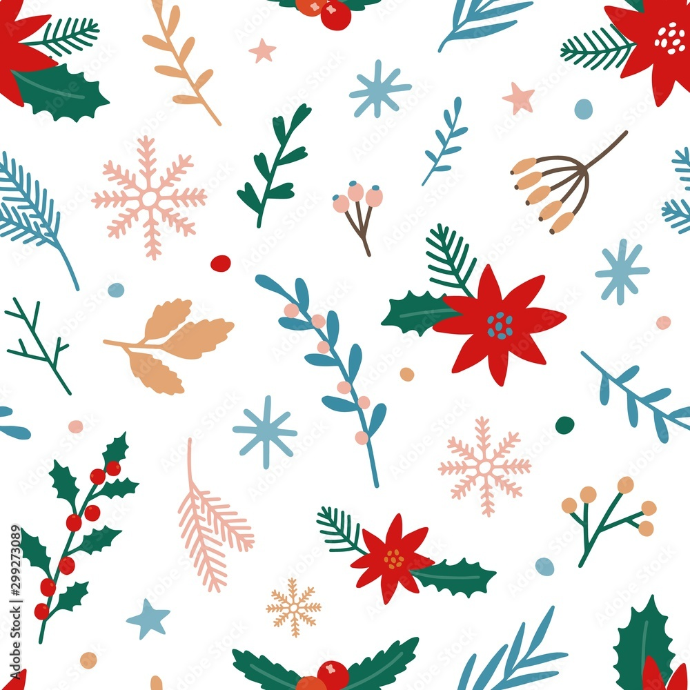 Fototapeta Traditional Xmas plants flat vector seamless pattern. Mistletoe, poinsettia, winterberry on white background. Christmas flowers, branches, berries backdrop. Wallpaper, textile, wrapping paper design.