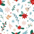 Traditional Xmas plants flat vector seamless pattern. Mistletoe, poinsettia, winterberry on white background. Christmas flowers, branches, berries backdrop. Wallpaper, textile, wrapping paper design.