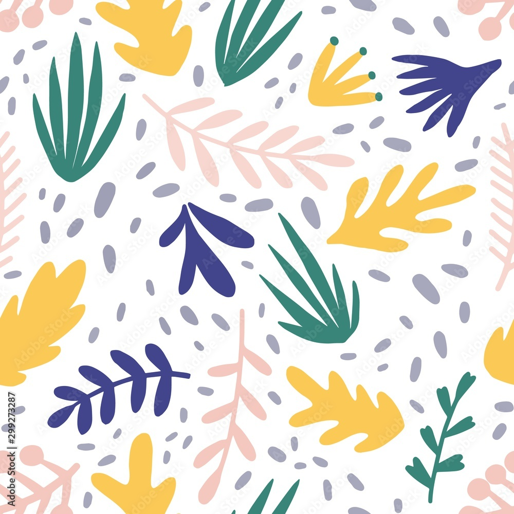 Fototapety, obrazy: Abstract plants flat vector seamless pattern. Minimalistic foliage and branches texture. Beautiful botanical background. Colorful twigs and leaves. Floral wallpaper, textile, wrapping paper design.
