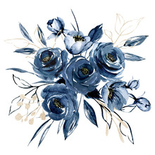 Navy Blue Flowers Watercolor, Floral Clip Art. Bouquet Roses Perfectly For Printing Design On Invitations, Cards, Wall Art And Other. Arrangement Isolated On White Background. Hand Painting.