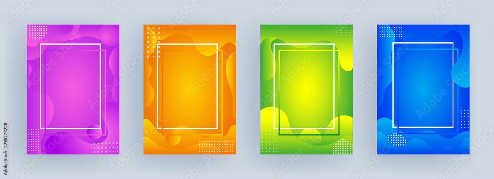 Fototapety, obrazy: Advertising template or flyer design with fluid art abstract background in four color option.