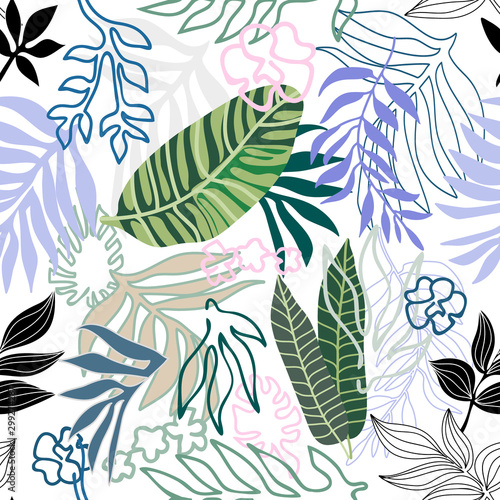 Seamless pattern with palm leaves. Wallpaper Mural