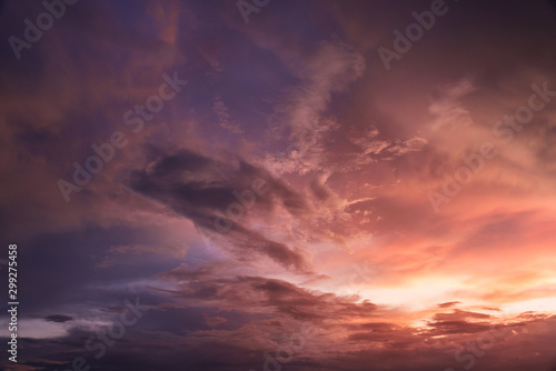 Photo sur Toile Aubergine Beautiful sky with cloud sunset