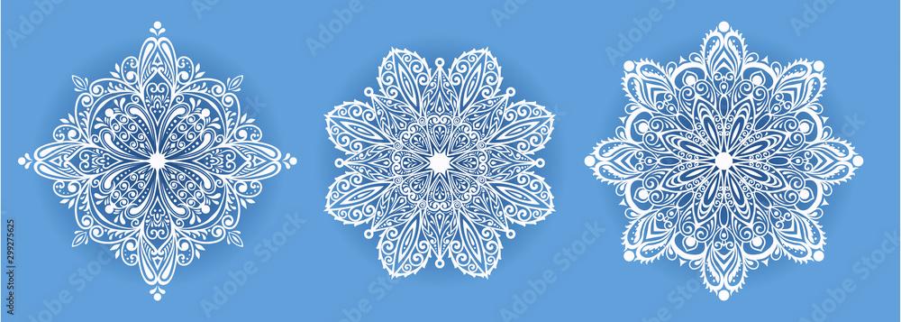 Fototapety, obrazy: vector illustration of beautiful snowflake on dark background for winter design
