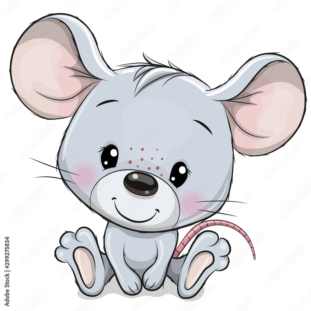 Fototapety, obrazy: Cartoon Mouse isolated on a white background